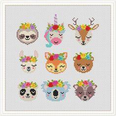 Unicorn Cross Stitch Pattern, Disney Cross Stitch Patterns, Cross Stitch Designs, Unicorn Pattern, Modern Cross Stitch Patterns, Tiny Cross Stitch, Cross Stitch Animals, Cross Stitch Charts, Kawaii Cross Stitch