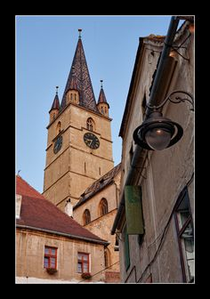 Sibiu, Romania. Clock tower from center of town. Buildings there are the oldest in city