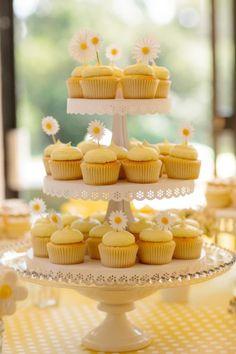 Daisy Wedding Cupcake Tower