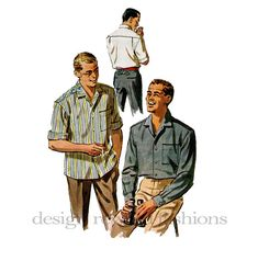1950s Mens Classic Button Down Sports Shirt by DesignRewindFashions, $22.00 Vintage & Newer Sewing Patterns