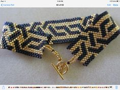 black and gold geometric peyote