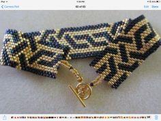 black and gold geometric peyote