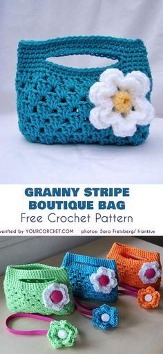 Crochet Handbags Granny Stripe Boutique Bag - Free Crochet Pattern - New Craft Works Crochet Handbags, Crochet Purses, Crochet Bags, Crochet Hand Purse, Crochet Amigurumi, Crochet Beanie, Crochet Gifts, Free Crochet, Crochet Granny