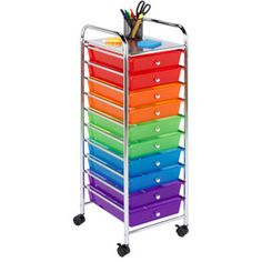 Honey Can Do 10 Drawer Multicolor Storage Cart (chrome / Multi Colored),  Multi