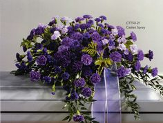 casket sprays - purple dianthus