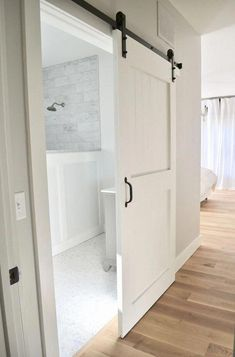 Closet doors are important, yet typically ignored when it involves room decor. Produce a new look for your room with these closet door ideas. It is necessary to create unique closet door ideas to enhance your home decoration. Bathroom Barn Door, Diy Barn Door, Barn Door Hardware, Sliding Door For Bathroom, Barn Door In House, Sliding Door Design, Sliding Closet Doors, Pantry Doors, Sliding Cupboard
