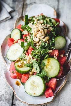 Watermelon, cucumber Asian salad