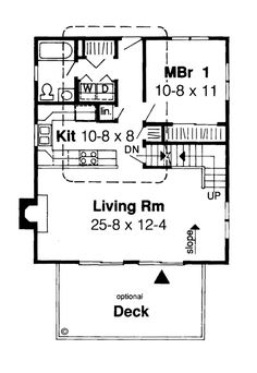 First Floor Plan of Contemporary   House Plan 34625