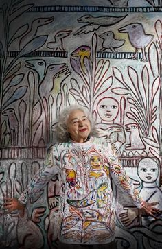 Artist Mirka Mora at 87, an Australian Living Treasure. At the click, an interview with many photos of the painter and her studio. [More like her at https://www.pinterest.com/yrauntruth/grow-up-age-croning/ ]
