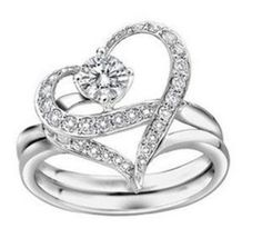 Okay, I confess... I really like this ;)    Love Heart Swarovski Crystal Rhinestones Silver Tone Ring Set (2 rings in one. 3 different looks!) Size 8 Women's Fashion Jewelry  - $24.00