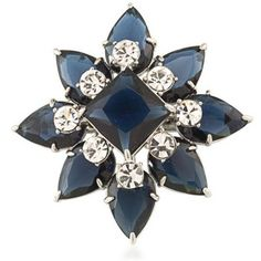 Carolee Blue Silver-Tone New York Star Pin