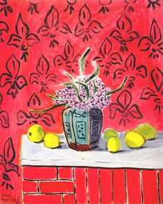 Matisse Hyacinths and Lemons, Fleur-de-Lis Background 1943