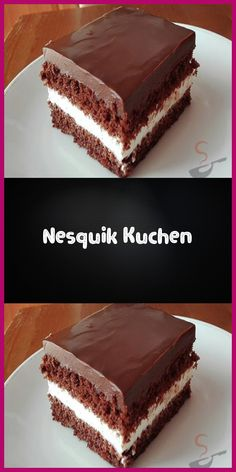 "A delicious delicious cake with a ""Nesquik taste"". The cast of chocolate sugar and sour cream gives this cake a great taste. The post Nesquik Cake appeared first on Dessert Factory. Easy Cookie Recipes, Cake Recipes, Snack Recipes, Dessert Recipes, Dessert Blog, Brownie Desserts, Fall Desserts, Brownie Recipes, Food Cakes"
