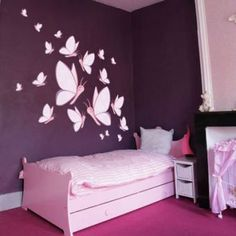 Cheap Stickers for kids room decor Purple Bedroom Decor, Bedroom Wall Colors, Room Colors, Diy Room Decor, Home Decor, Girl Room, Girls Bedroom, Wall Painting Decor, Wall Art