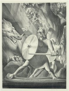 Dragon with Beowulf and Wiglaf