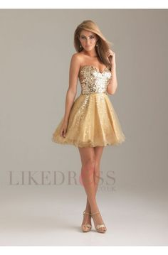 Gold Tulle Beading Sleeveless 2013 Cocktail Dresses