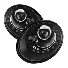 Spyder 2006-2010 Volkswagen Beetle Projector Headlights DRL LED - Black - Set of 2 (PRO-YD-VB06-DRL-BK)