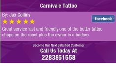 Great service fast and friendly one of the better tattoo shops on the coast plus the...