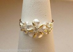 9/6MM SILVER HAWAIIAN 14K 3G PLUMERIA CZ RING 6.5-10