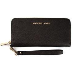 Michael Michael Kors Jet Set Wristlet Wallet ($136) ❤ liked on Polyvore featuring bags, wallets, purses, black, leather wristlet wallet, zip top bag, black leather bag, leather wallet and black wallet