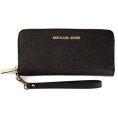 Michael Michael Kors Jet Set Wristlet Wallet (£93) ❤ liked on Polyvore featuring bags, wallets, purses, black, wristlet bag, black leather bag, real leather wallet, genuine leather bag and michael michael kors wristlet