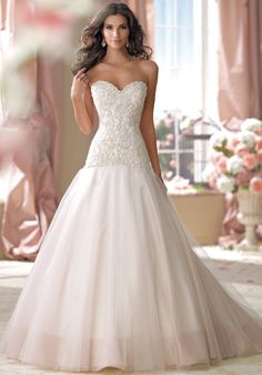David Tutera for Mon Cheri 114270 Wedding Dress - The Knot | LOVE the two tone subtle skirt..not so crazy about the beading