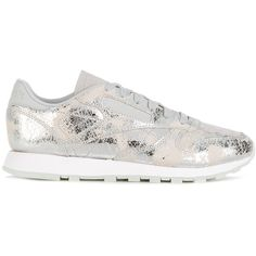 Reebok metallic coated sneakers (1,960 EGP) ❤ liked on Polyvore featuring shoes, sneakers, metallic, leather sneakers, reebok trainers, metallic sneakers, reebok sneakers and leather trainers