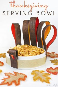 Adorable Thanksgiving Serving Bowl made from recycled leather belts.