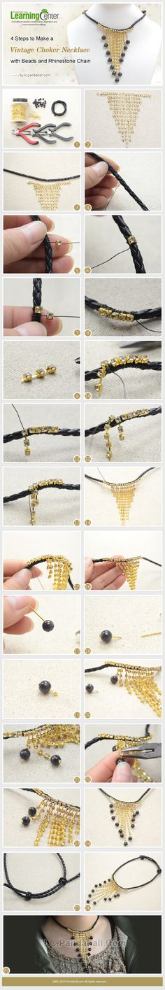 4 Steps to Make a Vintage Choker Necklace with Beads and Rhinestone Chain