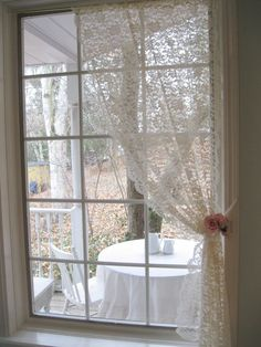 Lace Curtain Netted Lace Curtain Drape by mailordervintage on Etsy