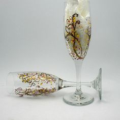crystal hand painted champagne flute | Hand painted abstract vined champagne glass flutes