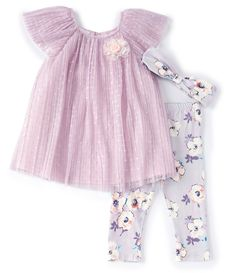 Bonnie Jean Little Girls Flutter-Sleeve Mesh Dress & Floral Legging Set Knit Leggings, Floral Leggings, Bonnie Jean, Mesh Dress, Flutter Sleeve, Swing Dress, Latest Trends, Girl Outfits, Summer Dresses