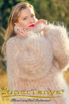 Thick cable mohair sweater hand knitted warm fuzzy turtleneck pullover by SuperTanya Mohair Yarn, Mohair Sweater, Gros Pull Mohair, Icelandic Sweaters, Vintage Ski, My Boutique, S Models, Shawls And Wraps, Hand Warmers