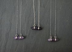 Amethyst Crystal plated in silver, on a custom length Sterling Silver chain. Select from two chain designs, cable or link chain. Great necklace to layer with other pieces or wear alone.