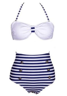 78b259efcc Navy Stripes Vintage High Waist Bikini Set White Swimsuit, Nautical Swimsuit,  Bikini Sets,