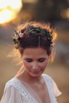 Beautiful hairstyle with floral crown