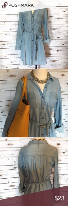 Chambray Denim Dress Worn once. (Please don't mind the wrinkles) Charlotte Russe Dresses Midi