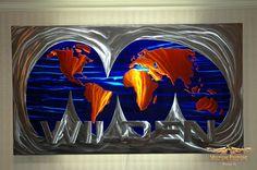 Metal world map handmade sculpture by Dan Statler #art
