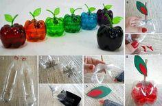 Manzanas hechas con botellas