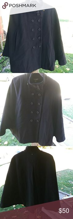 Bebe 100% wool with silk lining cape Bebe 100% wool sleeveless cape with silk lining. Size small. Beautiful!!! Does need to be dry cleaned. bebe Jackets & Coats Capes