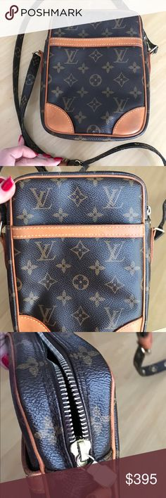 "Louis Vuitton Danube crossbody Louis Vuitton Danube crossbody 7"" x 9"" with adjustable 48 inch strap.  One outside pocket.  One inside pocket. Pretty roomy.  Can fit lipstick, cell phone, of course money.  A small bag but a good one. Smoke free home. Very good condition. Patina aged well.   Reasonable offers please Louis Vuitton Bags Crossbody Bags"