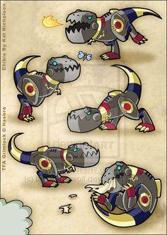 Chibi Grimlock by Kat-Nicholson Grimlock Transformers, Transformers Bumblebee, Transformers Prime, Robot Concept Art, Robot Art, Cute Chibi, Kawaii, Digimon, Design Reference