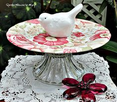 Bird and Roses Pedestal Whimsy / Jewelry by GardenWhimsiesByMary - $28