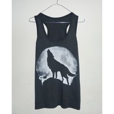 Tank Top Wolf Moon Shirt Strength Tee Unisex Men Women size S M L XL... (855 RUB) ❤ liked on Polyvore featuring tops, shirts, tank tops, round top, sleeveless crop top, crop tank top, blue shirt e sleeveless tank