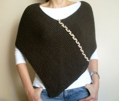 Hand Knit Poncho Chunky Poncho in Khaki Brown Wool by bysweetmom