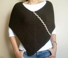 Poncho grueso Poncho de lana marrón caqui Poncho de por bysweetmom