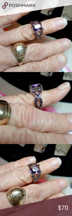 Amethyst Ring Amethyst Cluster Ring! With CZ chips along the detailed sides! White Rhodium plated. Sz 6.5 Brilliant stone color! Handcrafted Jewelry Rings