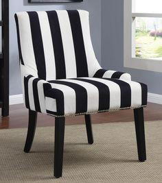 Black Stripe Accent Chair