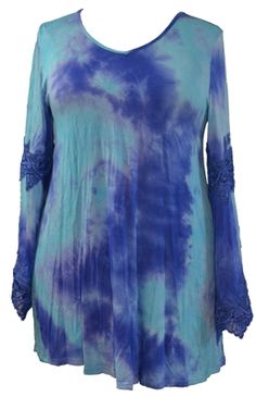 SPIN USA Plus Casual Tie Dye and Lace Long Sleeve Knit Tee A fashionable twist on a classic tee, this blue tie-dye knit fabric tunic/ tee features a v-neck and long sleeves with antique style lace detail.  XL, 2X, 3X