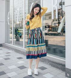 Manon - Multicolor Accordion-Pleat Midi Skirt Source by yesstyle Ulzzang Fashion, Kpop Fashion, Modest Fashion, Women's Fashion Dresses, Skirt Fashion, Maxi Dresses, Korean Fashion Summer Casual, Korean Fashion Trends, Asian Fashion